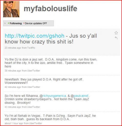 Fabolous's Twitter: T-Pain Disses Jay-Z In Las Vegas